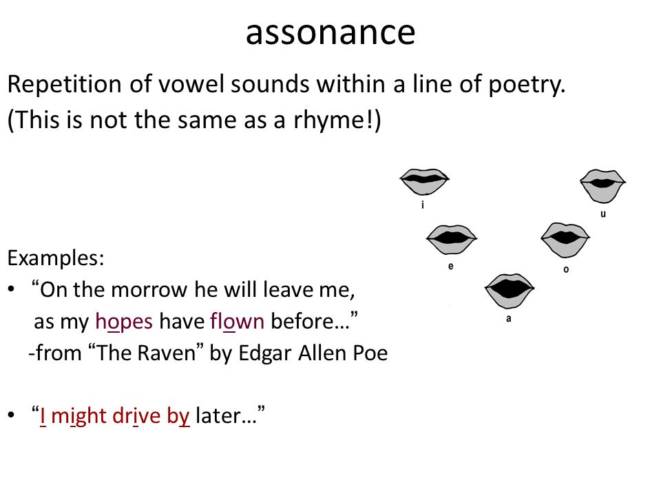 assonance Repetition of vowel sounds within a line of poetry.