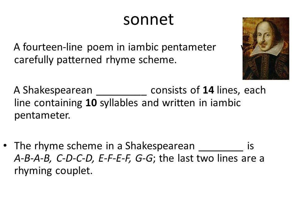 sonnet A fourteen-line poem in iambic pentameter with a carefully patterned rhyme scheme.