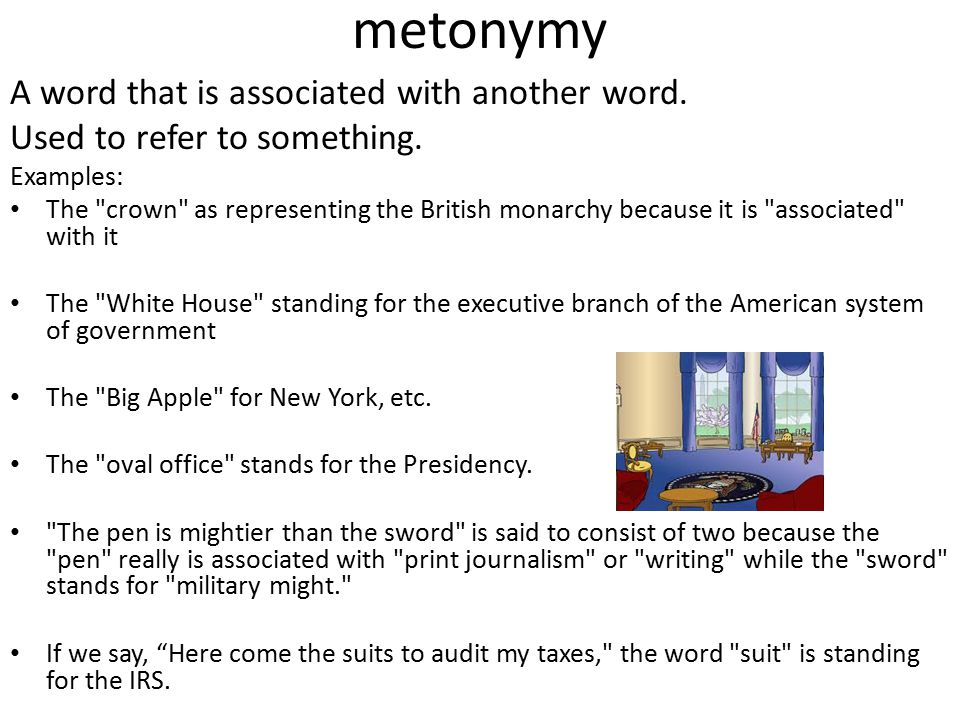 metonymy A word that is associated with another word.