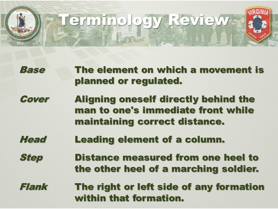 Terminology Review Base The element on which a movement is planned or regulated.