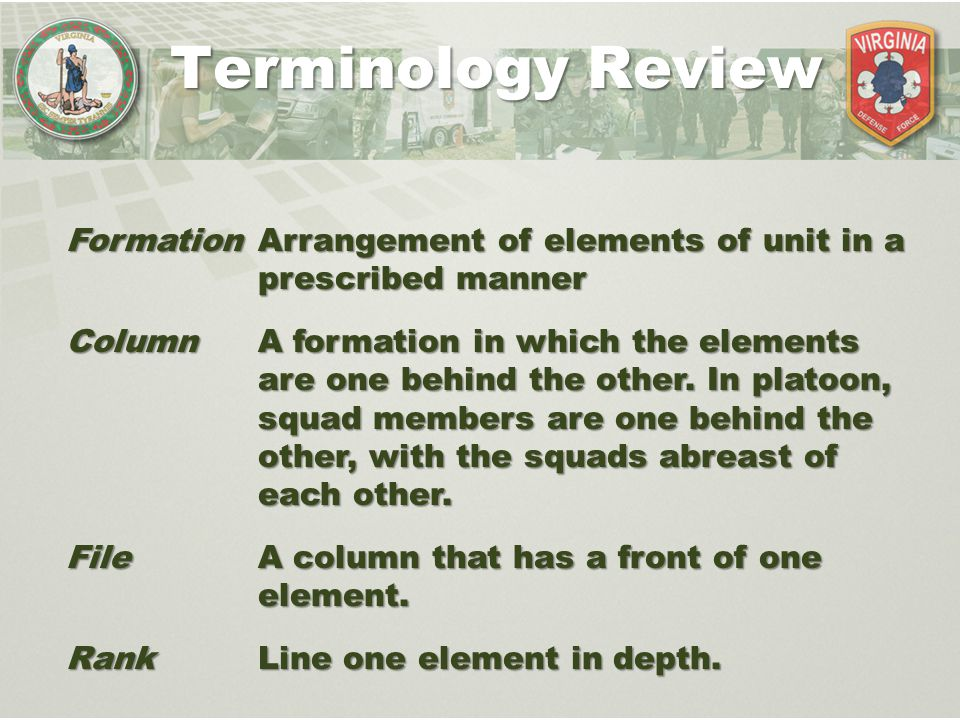 Terminology Review Formation Arrangement of elements of unit in a prescribed manner.