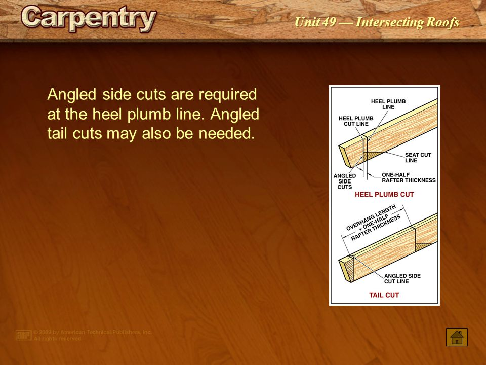 Angled side cuts are required at the heel plumb line