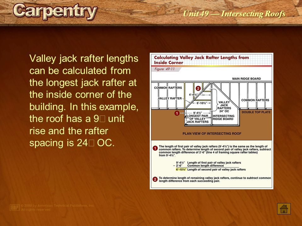 Valley jack rafter lengths can be calculated from the longest jack rafter at the inside corner of the building. In this example, the roof has a 9² unit rise and the rafter spacing is 24² OC.
