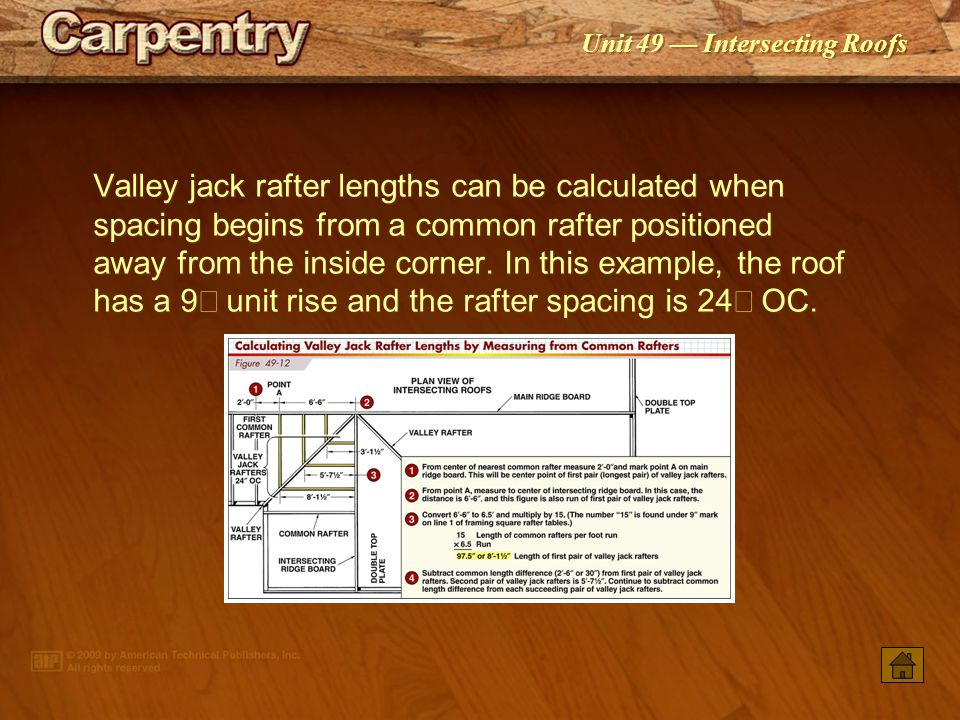 Valley jack rafter lengths can be calculated when spacing begins from a common rafter positioned away from the inside corner. In this example, the roof has a 9² unit rise and the rafter spacing is 24² OC.