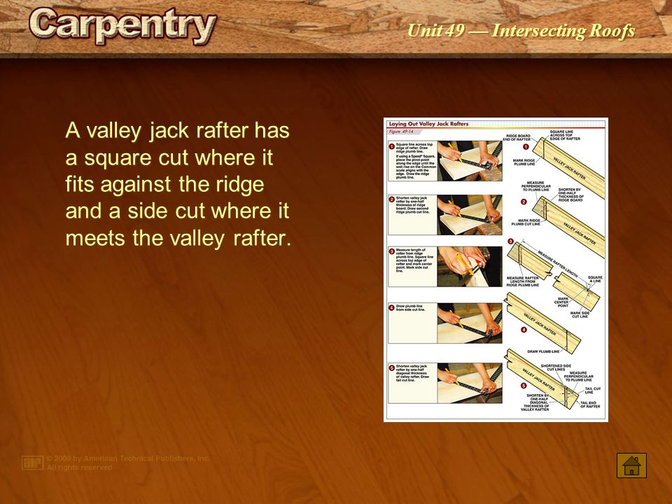 A valley jack rafter has a square cut where it fits against the ridge and a side cut where it meets the valley rafter.