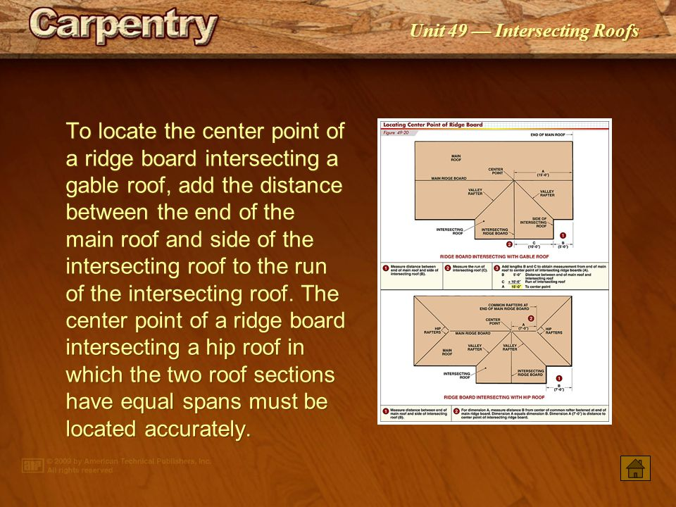 To locate the center point of a ridge board intersecting a gable roof, add the distance between the end of the main roof and side of the intersecting roof to the run of the intersecting roof. The center point of a ridge board intersecting a hip roof in which the two roof sections have equal spans must be located accurately.