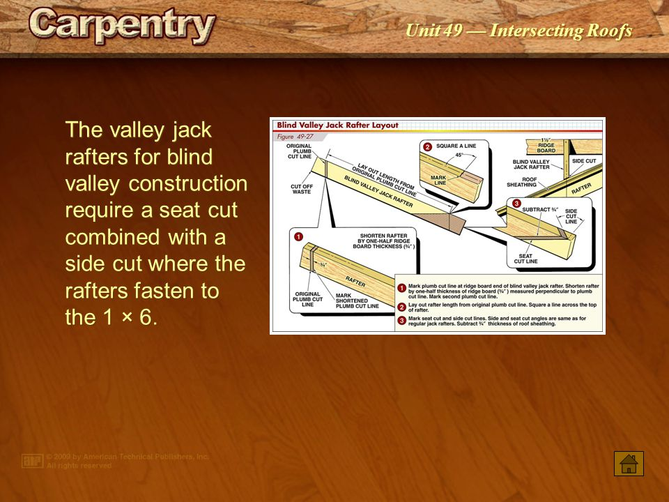 The valley jack rafters for blind valley construction require a seat cut combined with a side cut where the rafters fasten to the 1 × 6.
