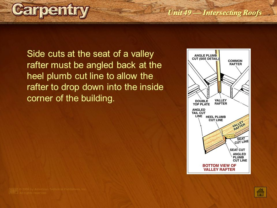 Side cuts at the seat of a valley rafter must be angled back at the heel plumb cut line to allow the rafter to drop down into the inside corner of the building.