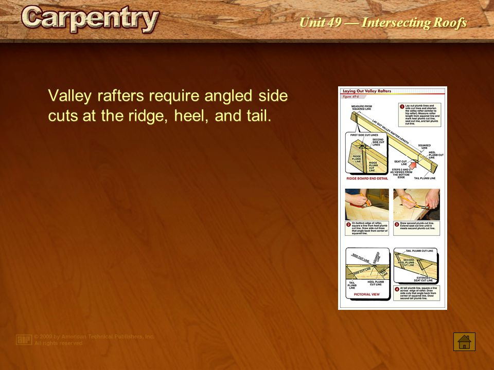 Valley rafters require angled side cuts at the ridge, heel, and tail.
