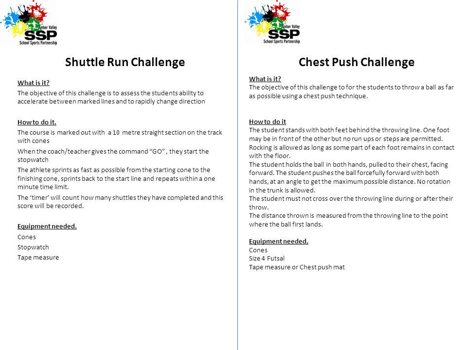Shuttle Run Challenge Chest Push Challenge