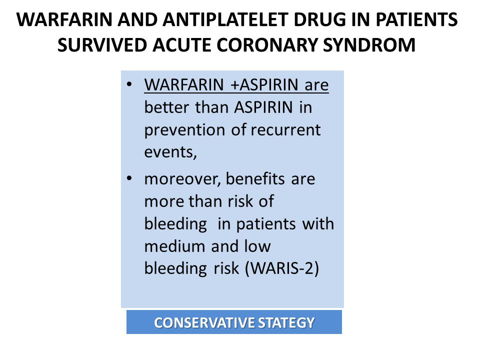 WARFARIN AND ANTIPLATELET DRUG IN PATIENTS SURVIVED ACUTE CORONARY SYNDROM