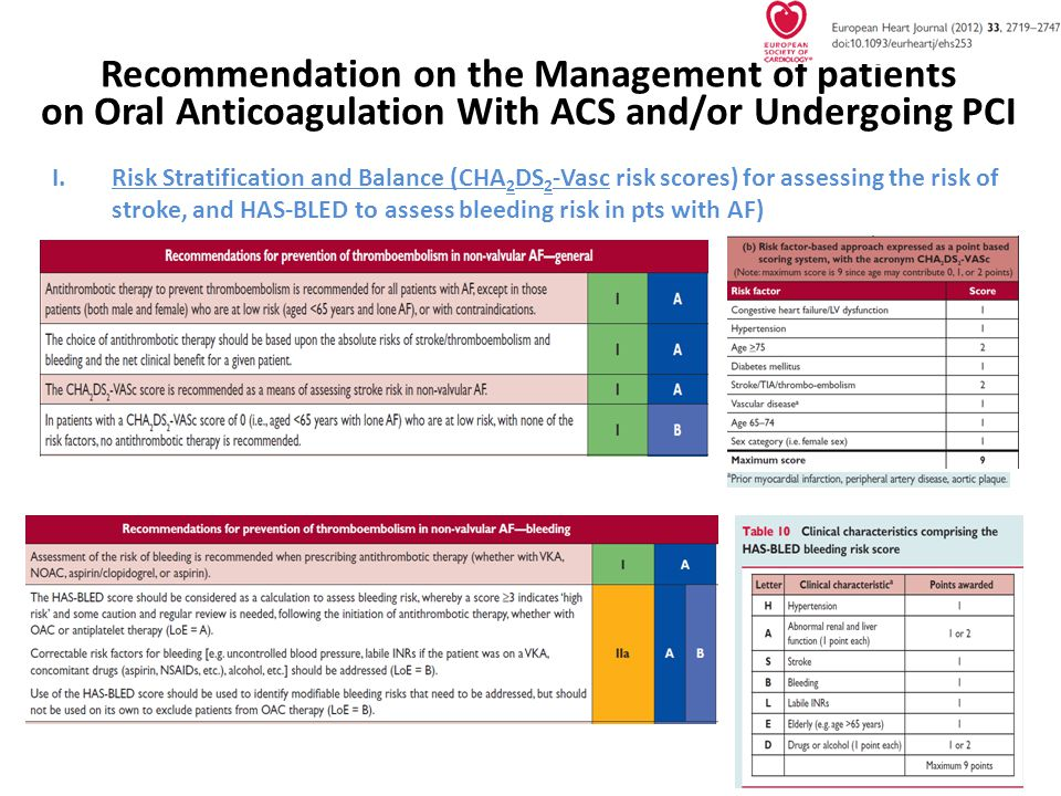 Recommendation on the Management of patients on Oral Anticoagulation With ACS and/or Undergoing PCI