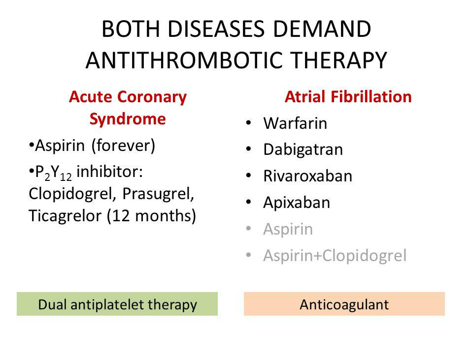 BOTH DISEASES DEMAND ANTITHROMBOTIC THERAPY