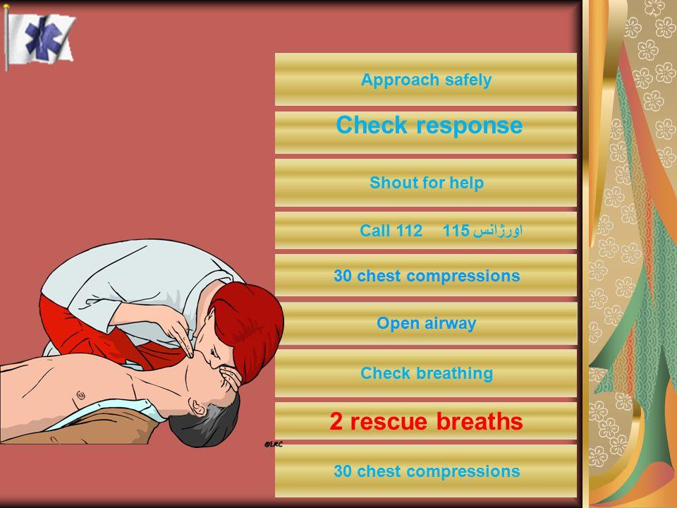 Check response 2 rescue breaths