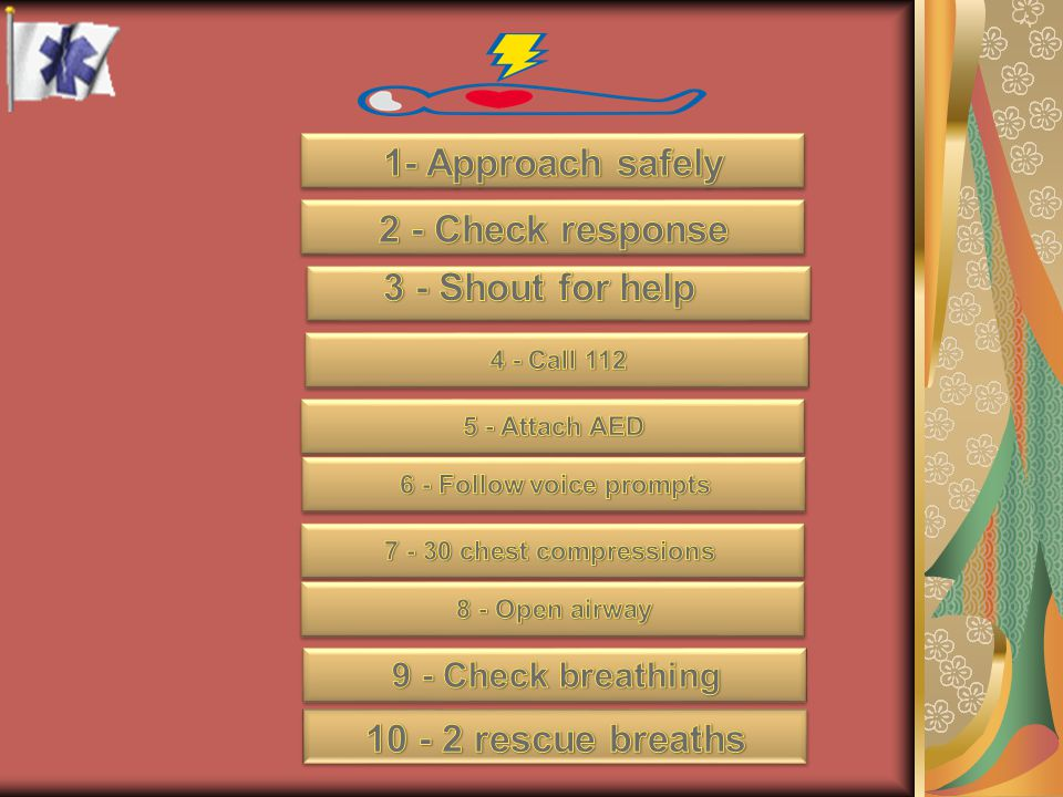 1- Approach safely 2 - Check response 3 - Shout for help