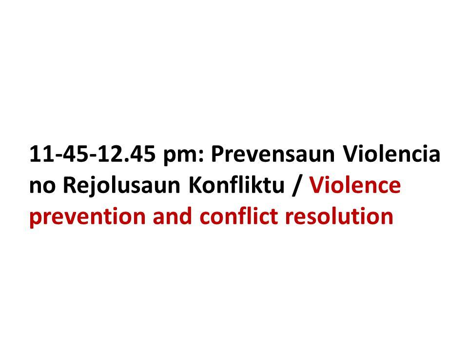 11-45-12.45 pm: Prevensaun Violencia no Rejolusaun Konfliktu / Violence prevention and conflict resolution