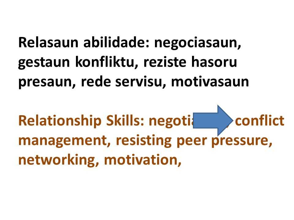 Relasaun abilidade: negociasaun, gestaun konfliktu, reziste hasoru presaun, rede servisu, motivasaun Relationship Skills: negotiation, conflict management, resisting peer pressure, networking, motivation,