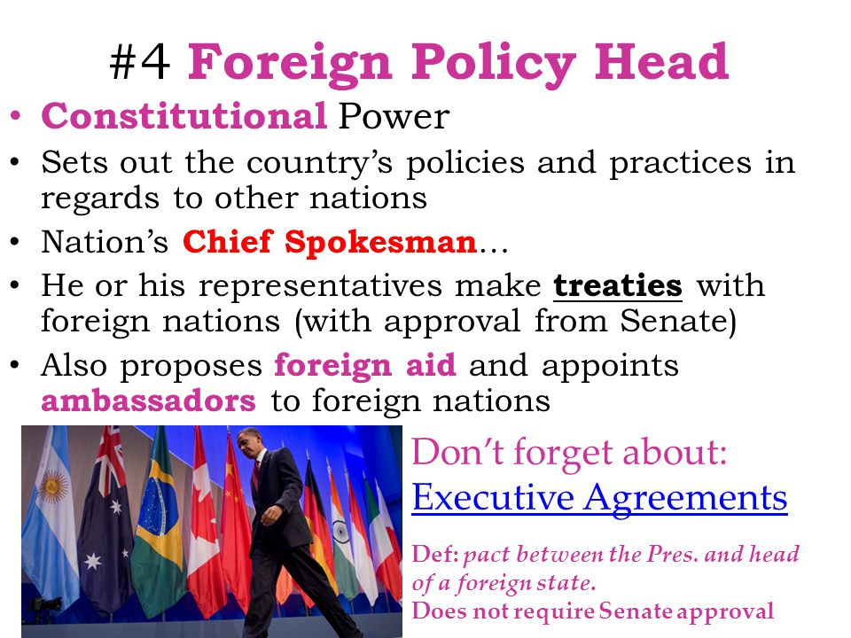 #4 Foreign Policy Head Constitutional Power Don't forget about: