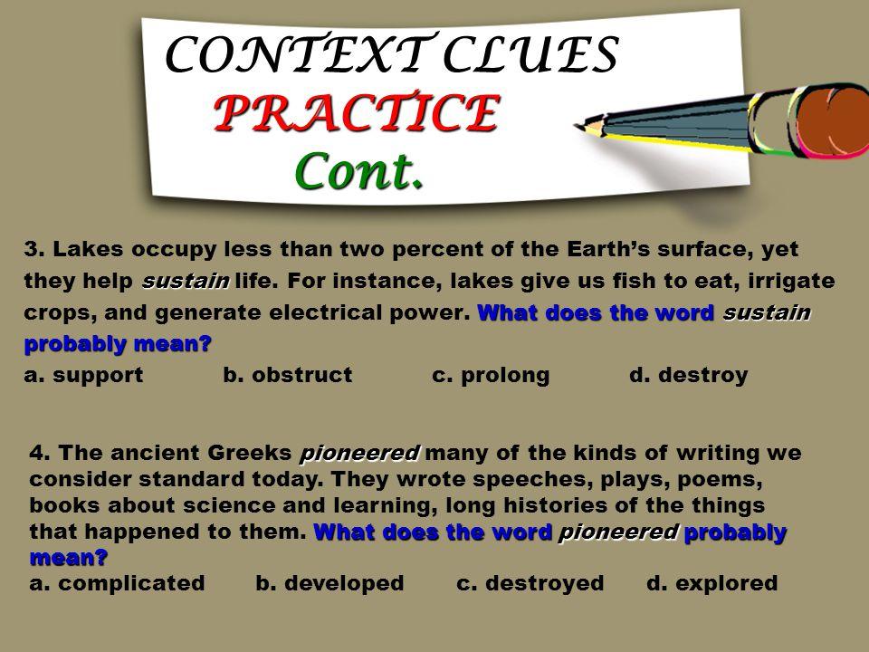 CONTEXT CLUES PRACTICE Cont.