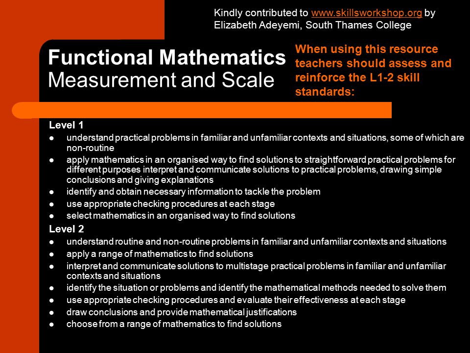 Functional Mathematics Measurement and Scale