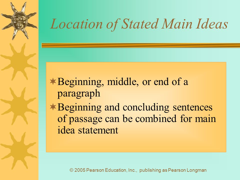 Location of Stated Main Ideas