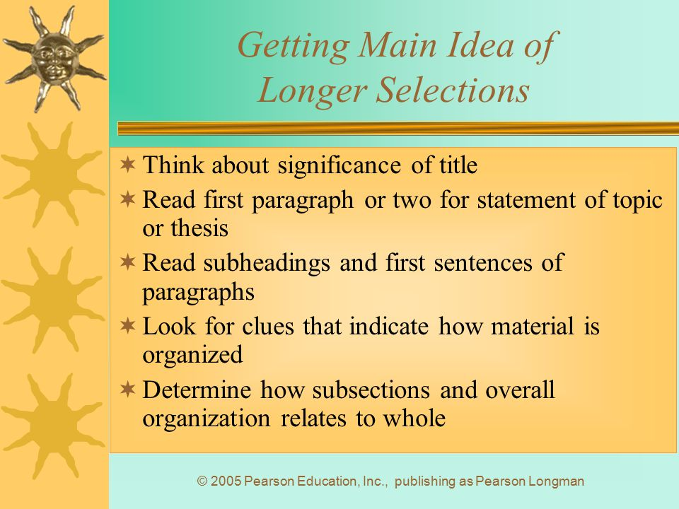 Getting Main Idea of Longer Selections