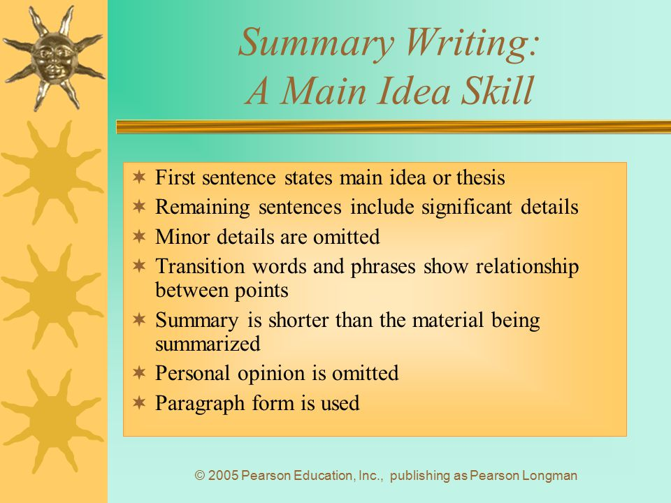 Summary Writing: A Main Idea Skill