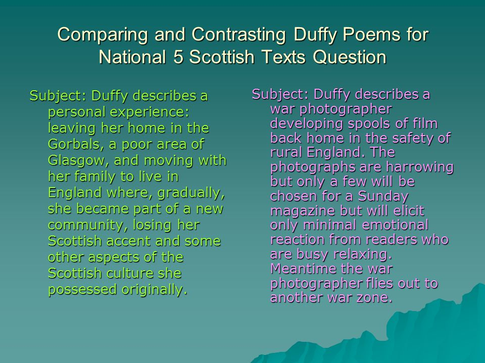 Comparing and Contrasting Duffy Poems for National 5 Scottish Texts Question