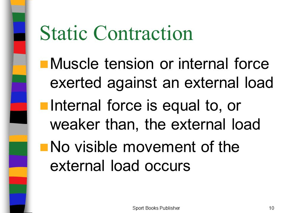 Static Contraction Muscle tension or internal force exerted against an external load. Internal force is equal to, or weaker than, the external load.