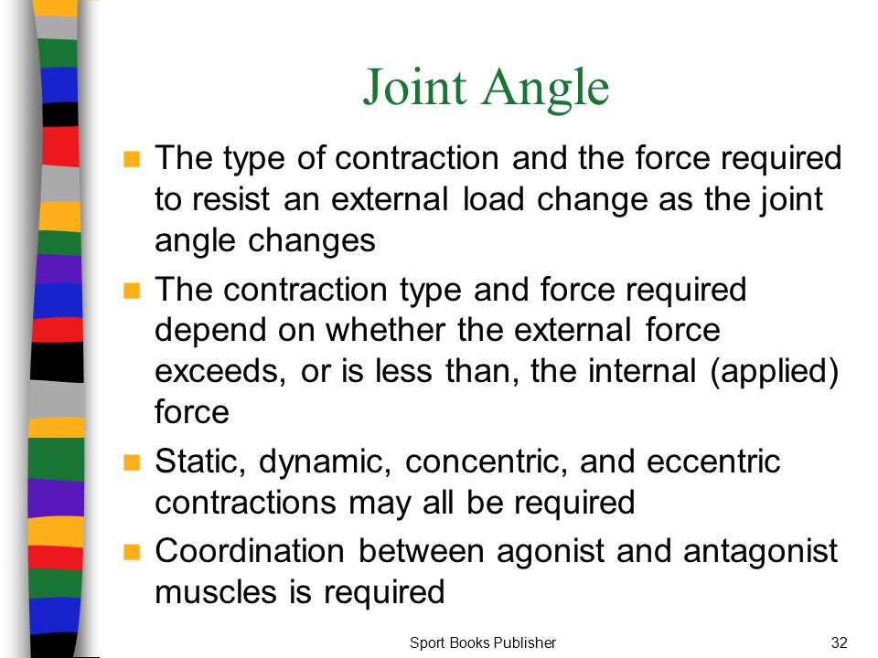 Joint Angle The type of contraction and the force required to resist an external load change as the joint angle changes.