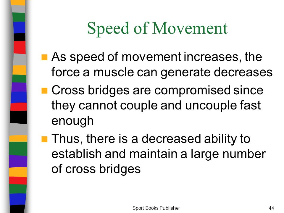 Speed of Movement As speed of movement increases, the force a muscle can generate decreases.