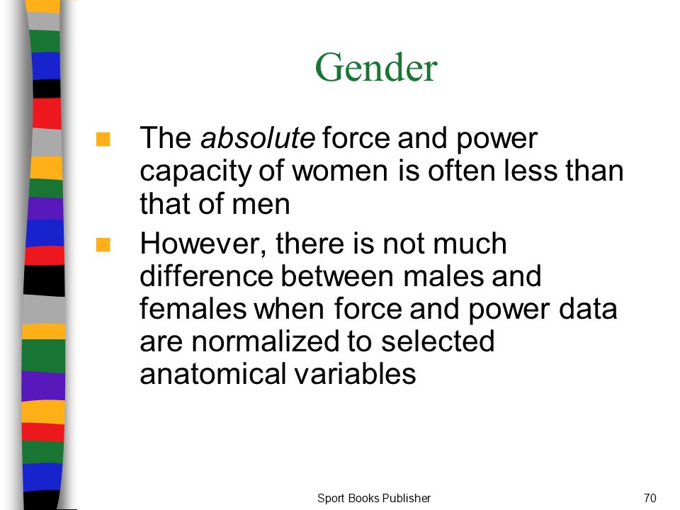 Gender The absolute force and power capacity of women is often less than that of men.