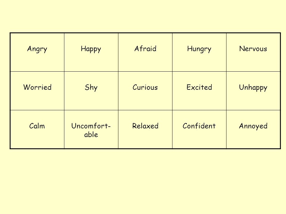 Angry Happy. Afraid. Hungry. Nervous. Worried. Shy. Curious. Excited. Unhappy. Calm. Uncomfort-able.