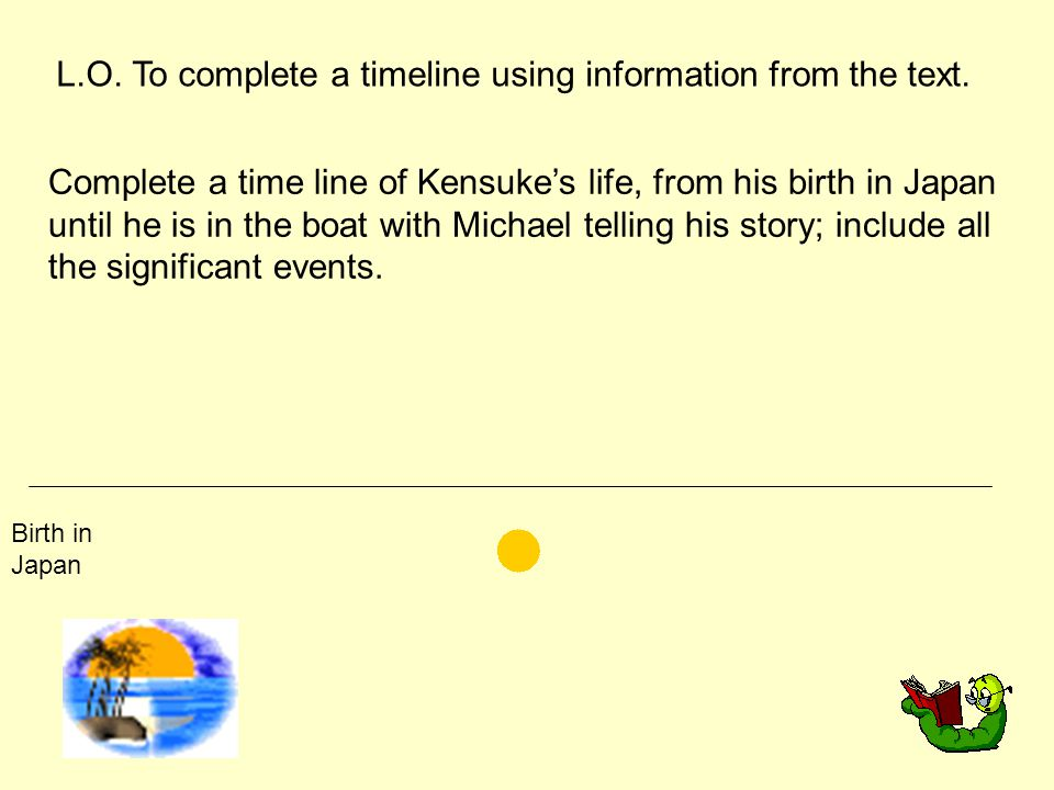 L.O. To complete a timeline using information from the text.