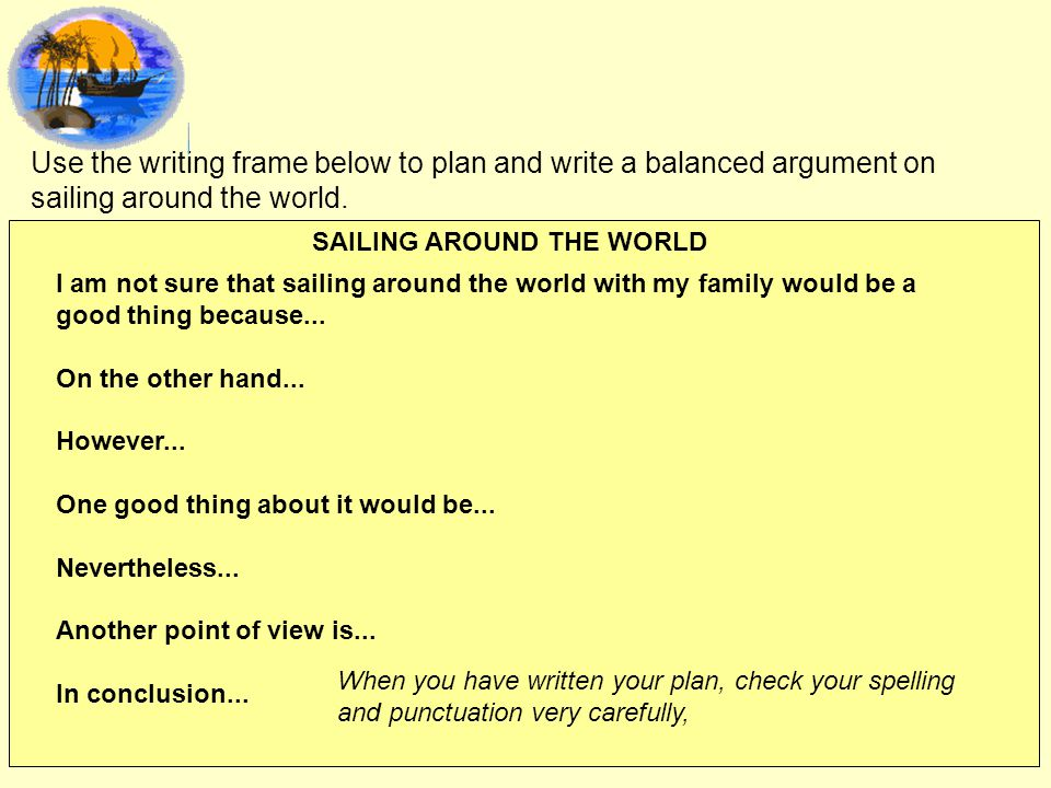 Use the writing frame below to plan and write a balanced argument on sailing around the world.
