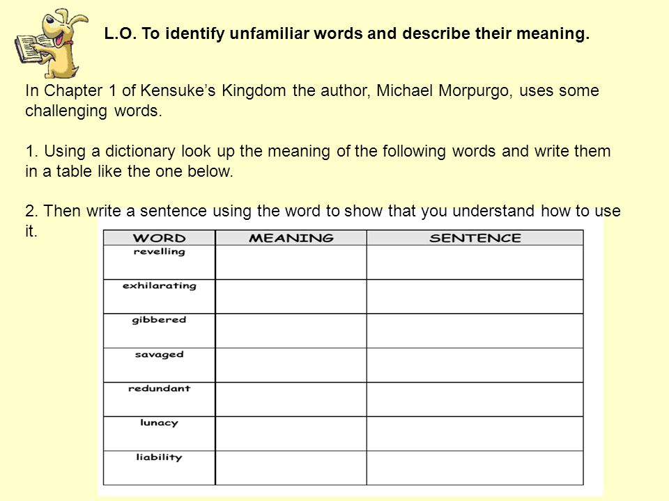 L.O. To identify unfamiliar words and describe their meaning.