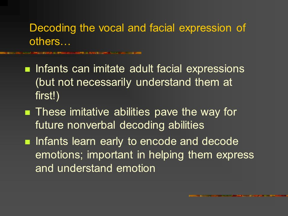 Decoding the vocal and facial expression of others…