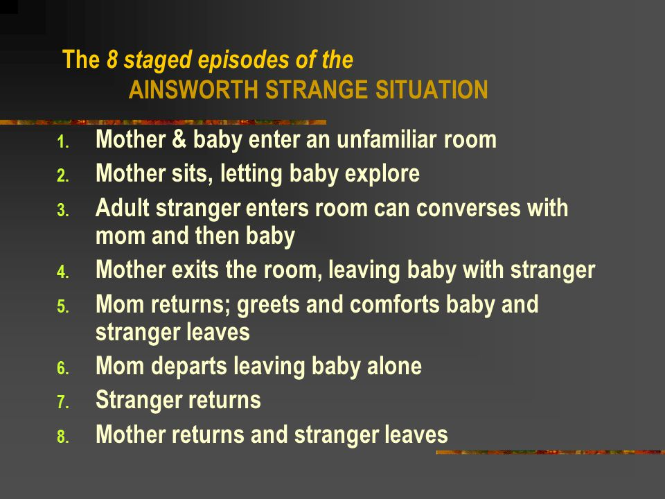 The 8 staged episodes of the AINSWORTH STRANGE SITUATION