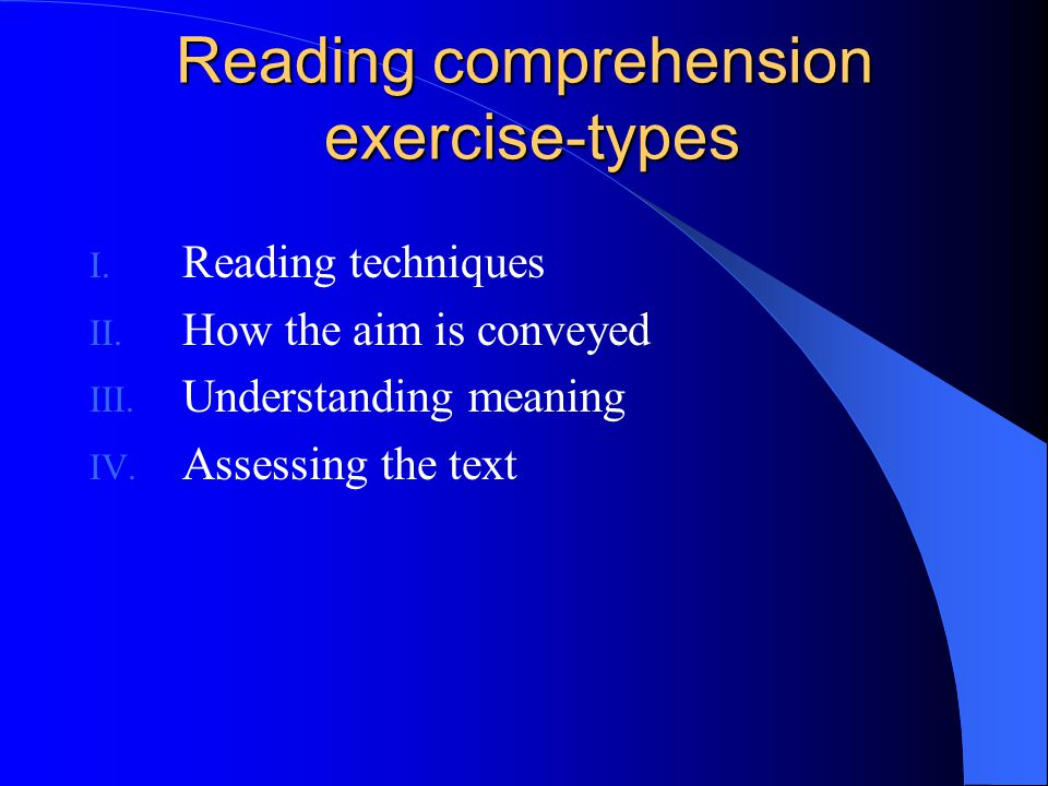 Reading comprehension exercise-types