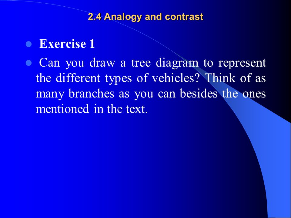 2.4 Analogy and contrast Exercise 1.