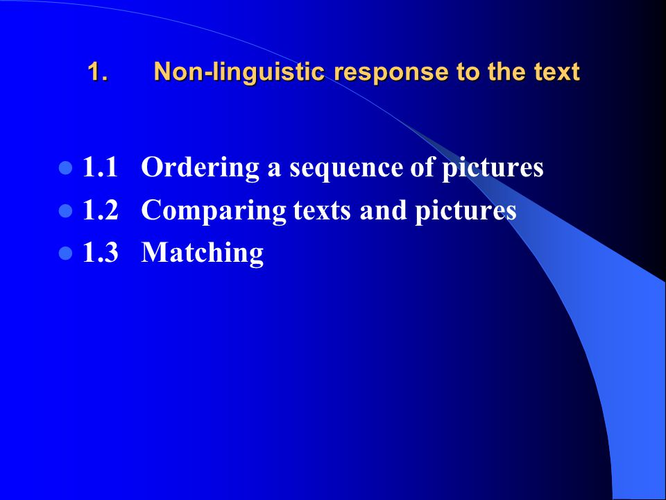 1. Non-linguistic response to the text