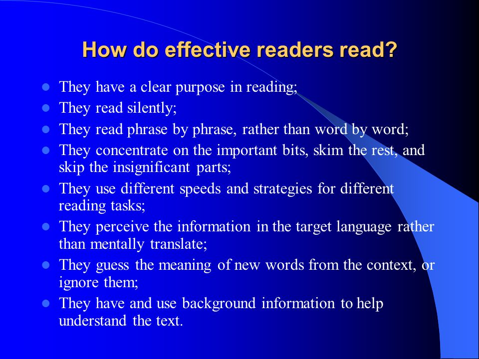 How do effective readers read