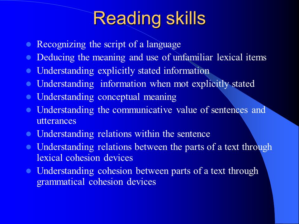 Reading skills Recognizing the script of a language