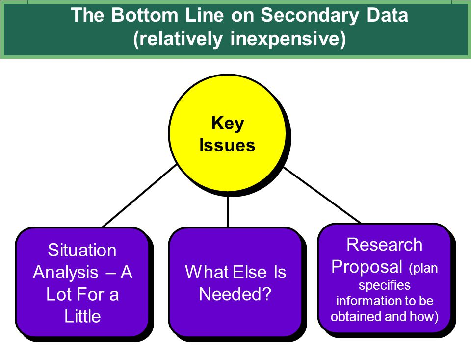 The Bottom Line on Secondary Data (relatively inexpensive)