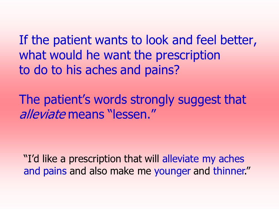 If the patient wants to look and feel better, what would he want the prescription to do to his aches and pains The patient's words strongly suggest that alleviate means lessen.