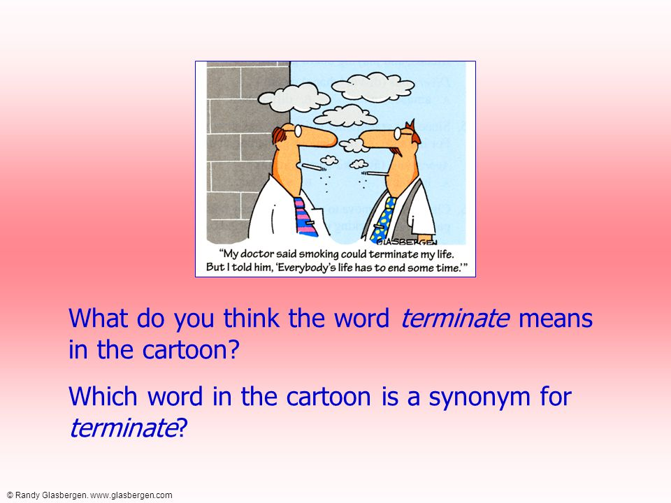 What do you think the word terminate means in the cartoon