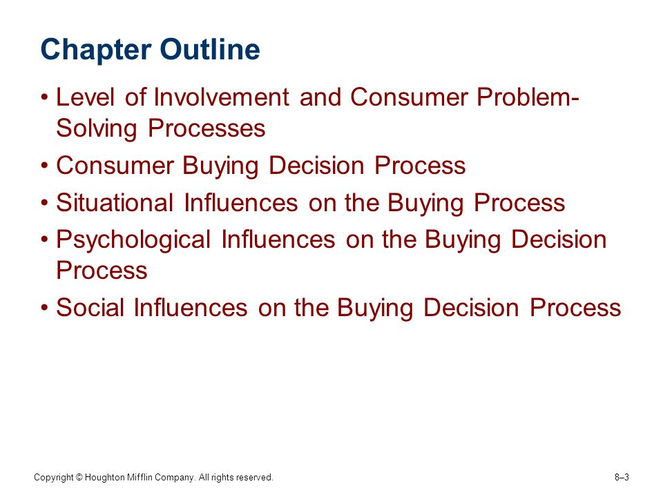 Chapter Outline Level of Involvement and Consumer Problem-Solving Processes. Consumer Buying Decision Process.