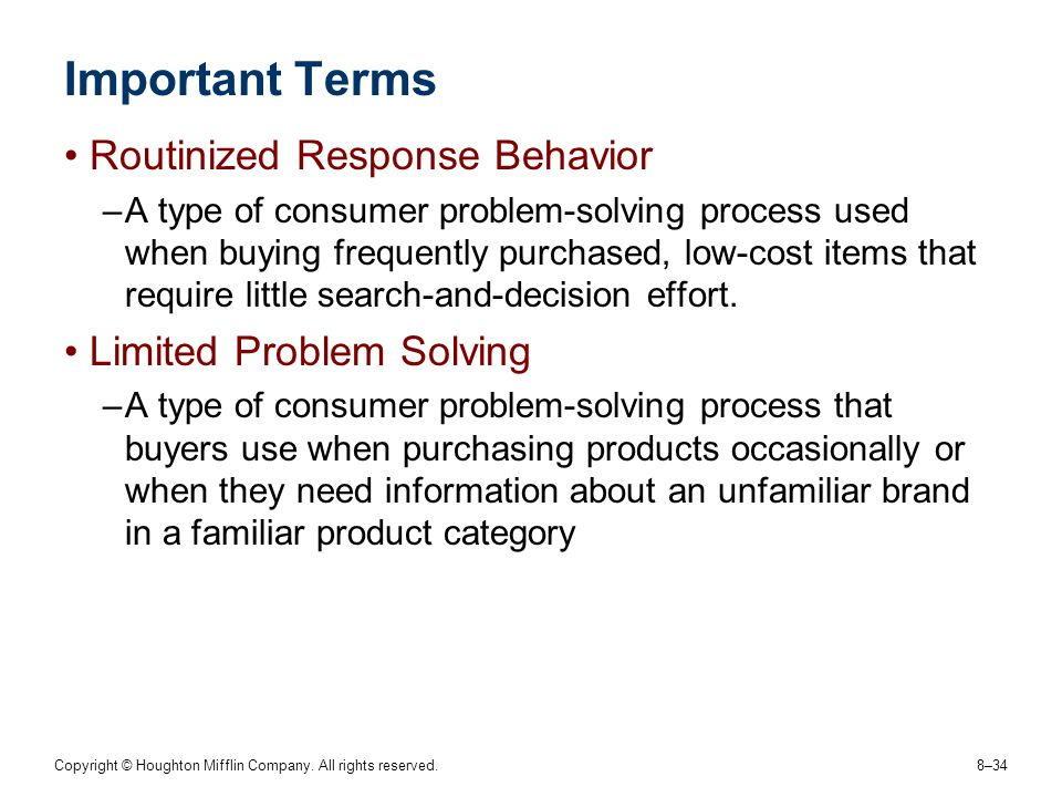 Important Terms Routinized Response Behavior Limited Problem Solving