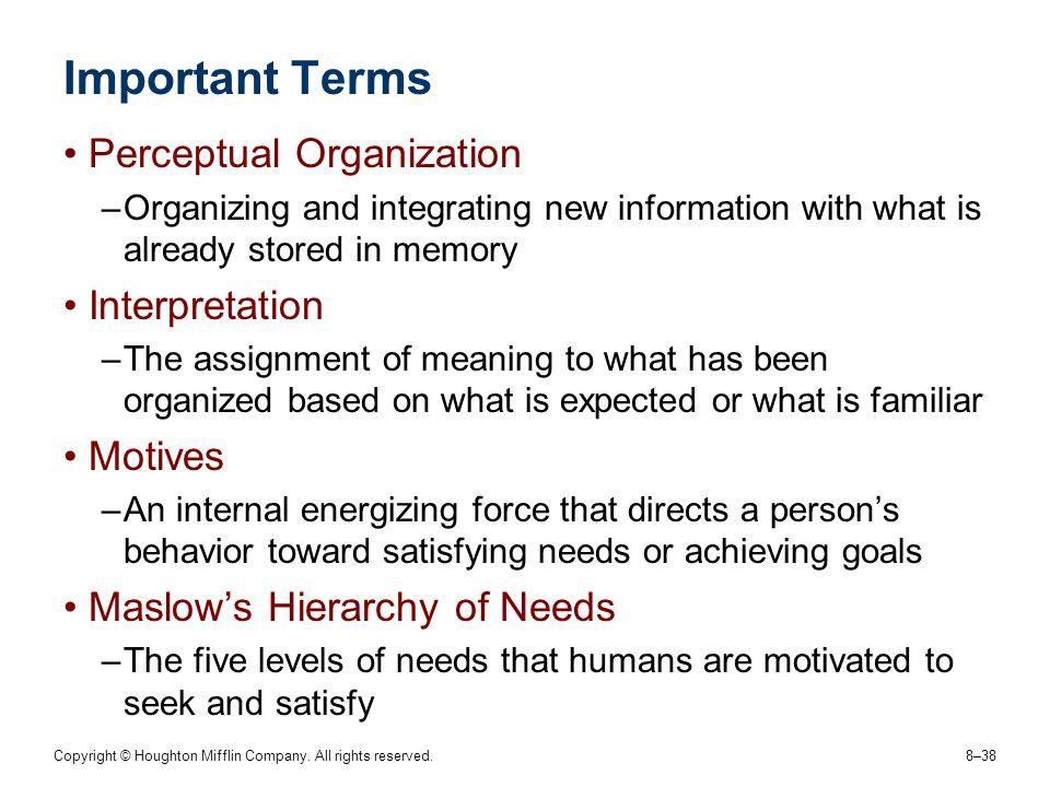 Important Terms Perceptual Organization Interpretation Motives