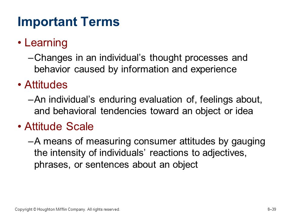 Important Terms Learning Attitudes Attitude Scale